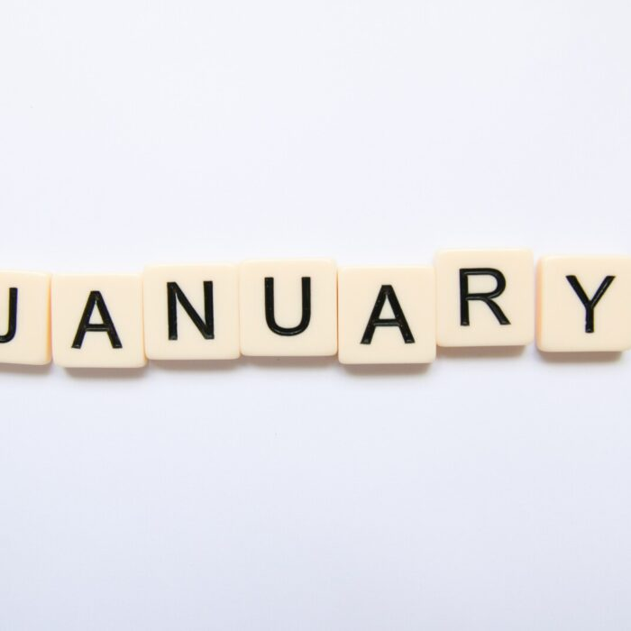 January in Scrabble letters